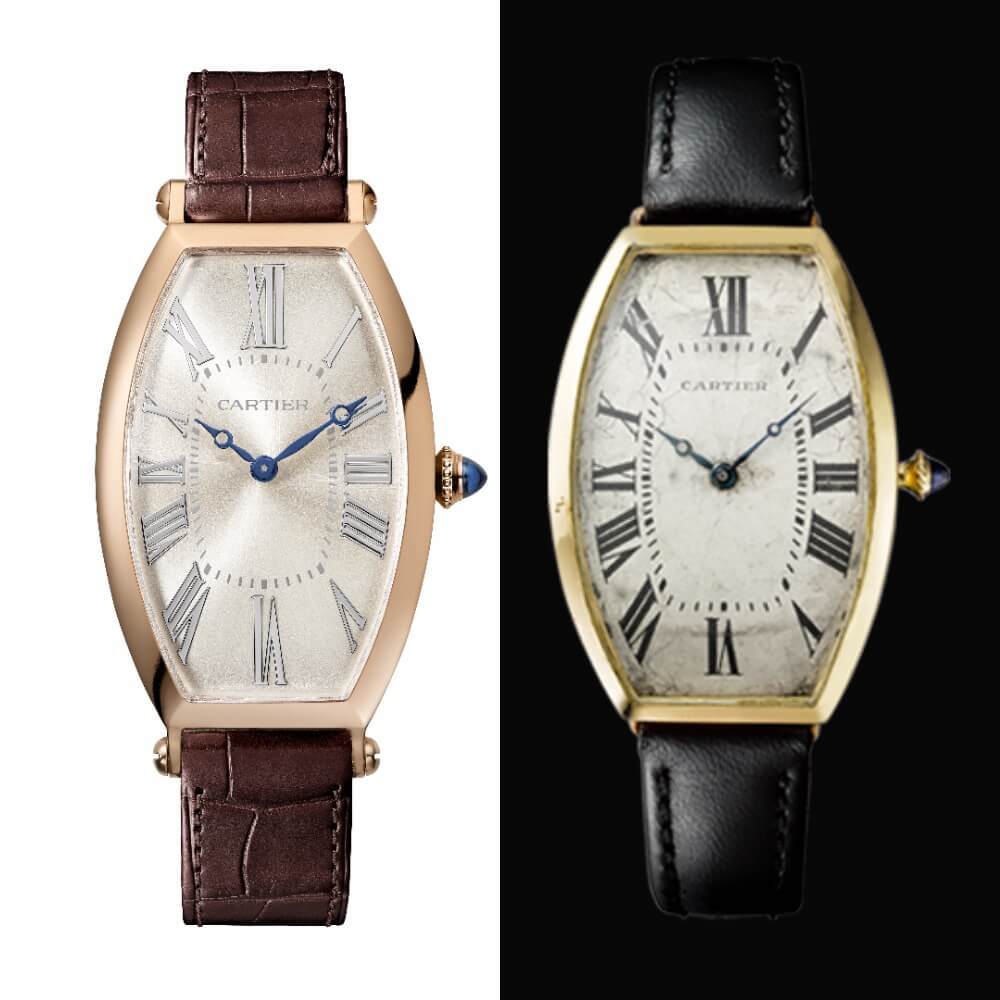 Cartier Prive Tonneau Large Model and the vintage cartier Model