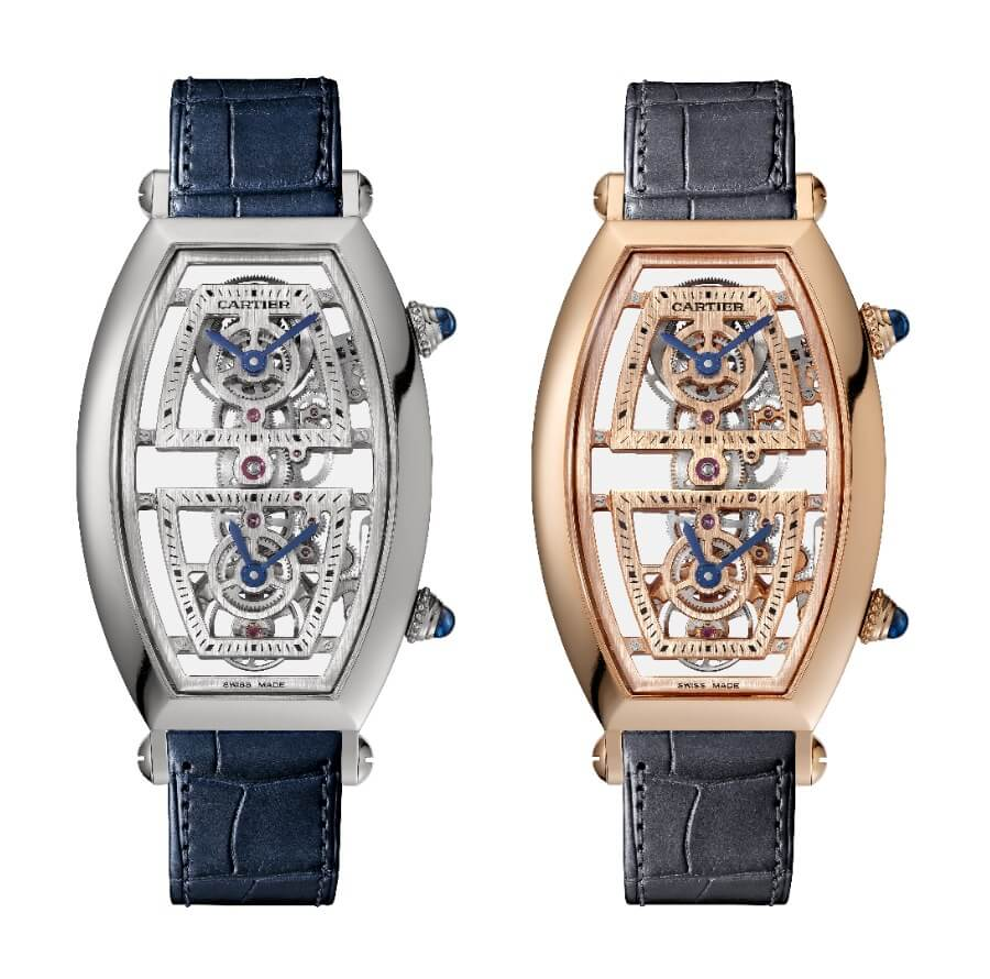 Cartier Prive Tonneau Large Model Skeleton Dual Time Zone