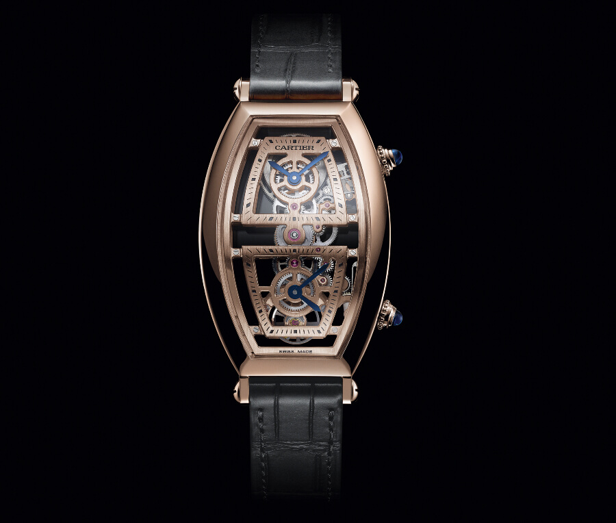 The New Cartier Prive Tonneau Large Model Skeleton Dual Time Zone