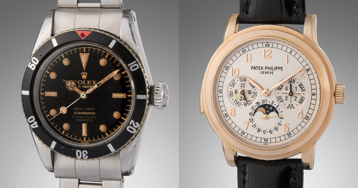 A Never Before Publicly Seen Rolex Submariner Ref. 6538 And A Selection Of Patek Philippe Minute Repeating Wristwatches