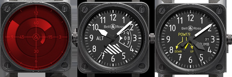 Bell & Ross BR 01 RED Radar 2011, BR 01 Altimeter 2012, BR 01 Climb 2013