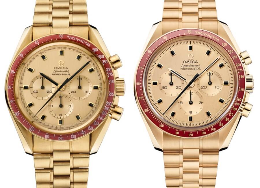 Vintage Omega Speedmaster BA145.022 on the left - The New Omega Speedmaster BA145.022 on the right