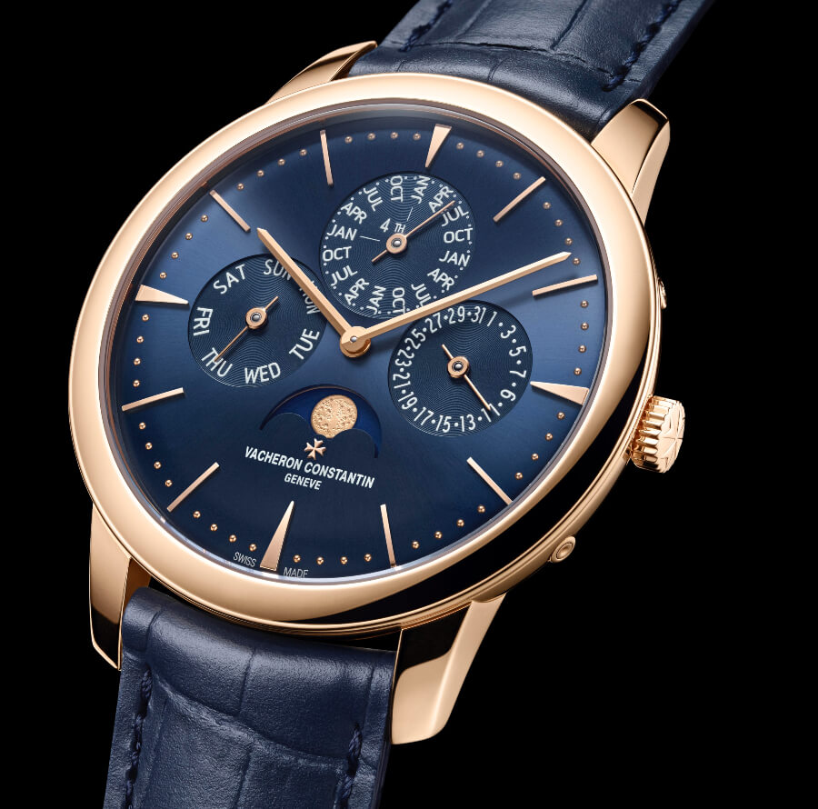Vacheron Constantin Patrimony Perpetual Calendar Ultra-Thin In Rose Gold and Blue Dial