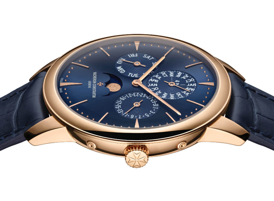 Vacheron Constantin Patrimony Perpetual Calendar Ultra-Thin In Rose Gold and Blue Diall Watch Review