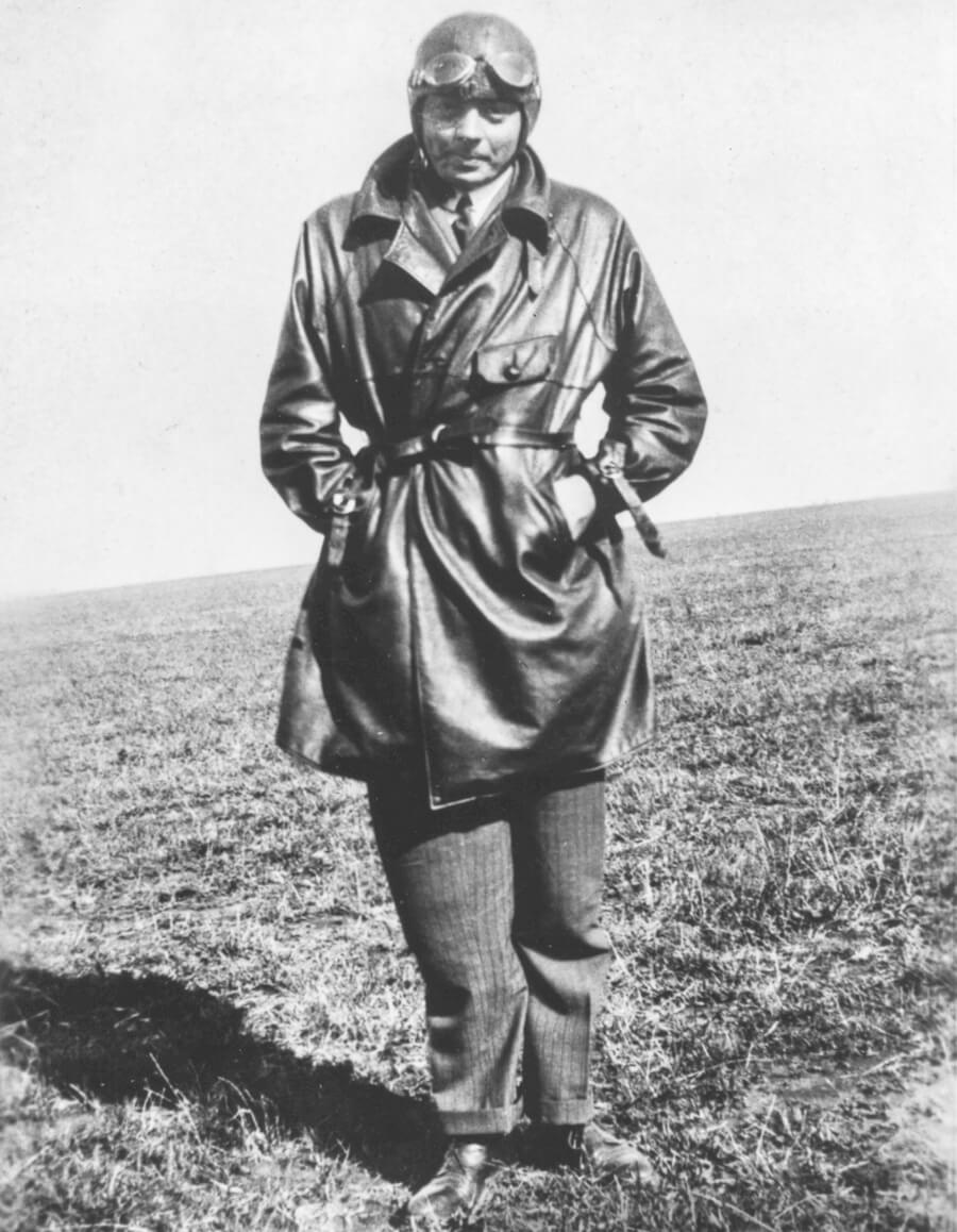 Antoine de Saint Exupéry in his pilot's uniform at the Pacheco Air base in Buenos Aires, Argentina, 1929/1931