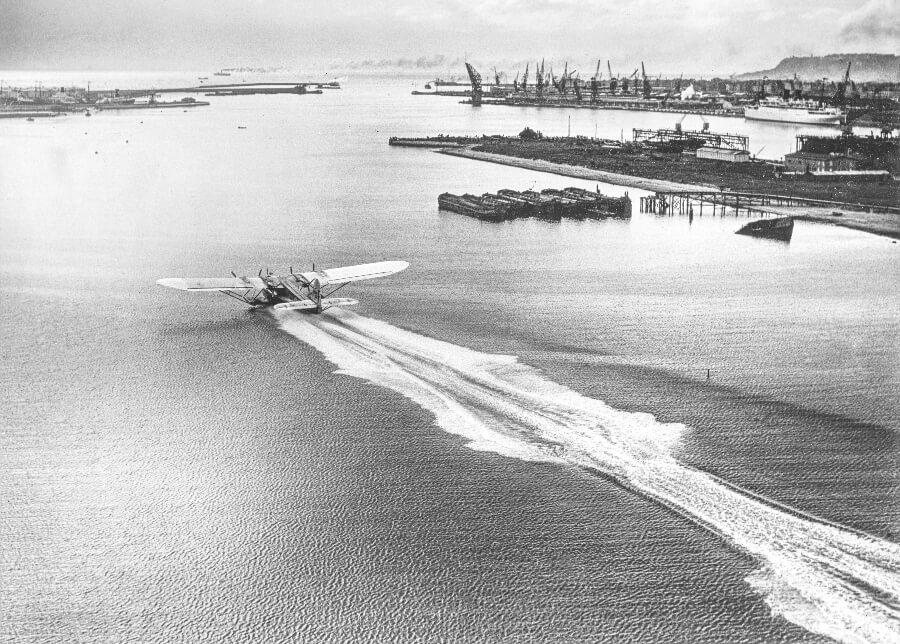 The huge seaplane, the Latécoère 521 Lieutenant de Vaisseau Paris taking off from the port of Le Havre, France, June 1935