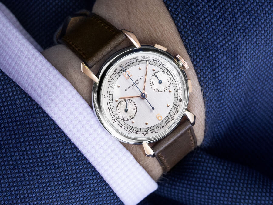 Vacheron Constantin Stainless steel and 18k pink gold 30-minute counter chronograph, 1942