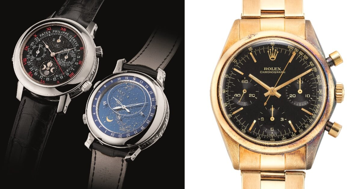 "Extremely Complicated, Important and Most Probably Unique White Gold Patek Philippe Ref. 5002G and a Very Rare ""Pre-Daytona"" Rolex Ref. 6238 Featuring a ""Glossy"" Black Dial"