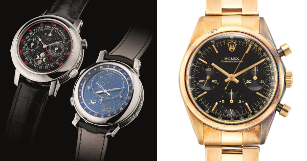 """Extremely Complicated, Important and Most Probably Unique White Gold Patek Philippe Ref. 5002G and a Very Rare """"Pre-Daytona"""" Rolex Ref. 6238 Featuring a """"Glossy"""" Black Dial"""