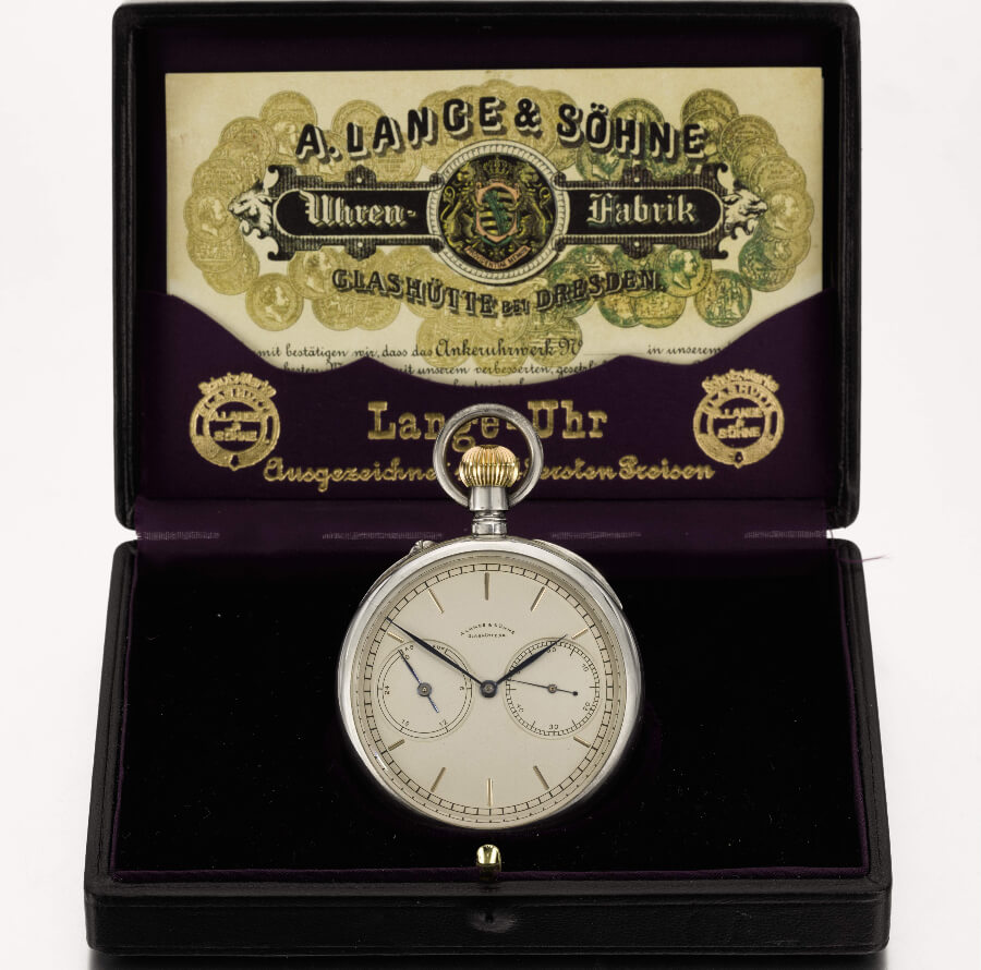 A. Lange & Söhne, silver open.faced keyless tourbillon watch, 1924 presentation box, Sotheby's Geneva 11 November 2019