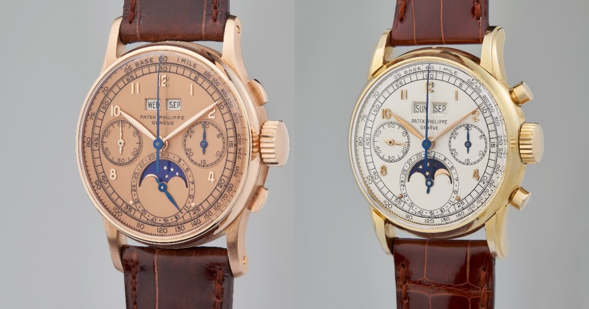 "An Extremely Rare Patek Philippe Perpetual Calendar Chronograph ""Pink-on-Pink"" Reference 1518 and A Possibly Unique Patek Philippe Perpetual Calendar Chronograph Reference 2499"