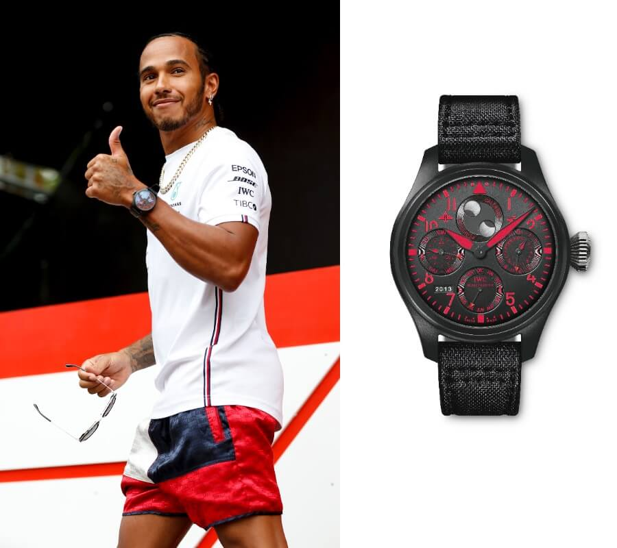 Lewis Hamilton – wearing IWC Pilot's Watch Perpetual Calendar TOP GUN Boutique Edition (IW502903)