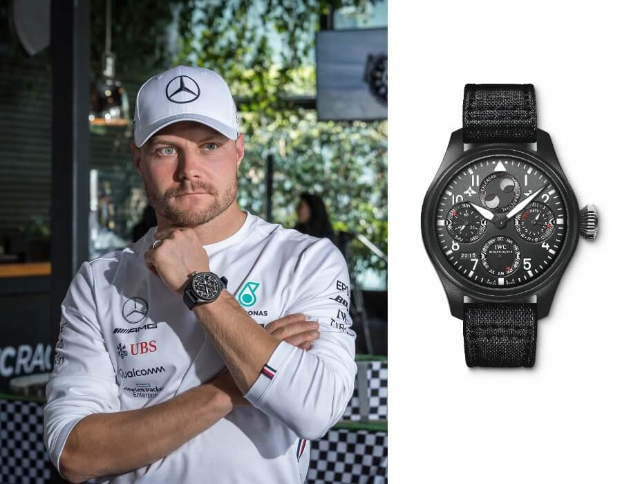 Valtteri Bottas – wearing IWC Big Pilot's Watch Perpetual Calendar TOP GUN (IW502902)
