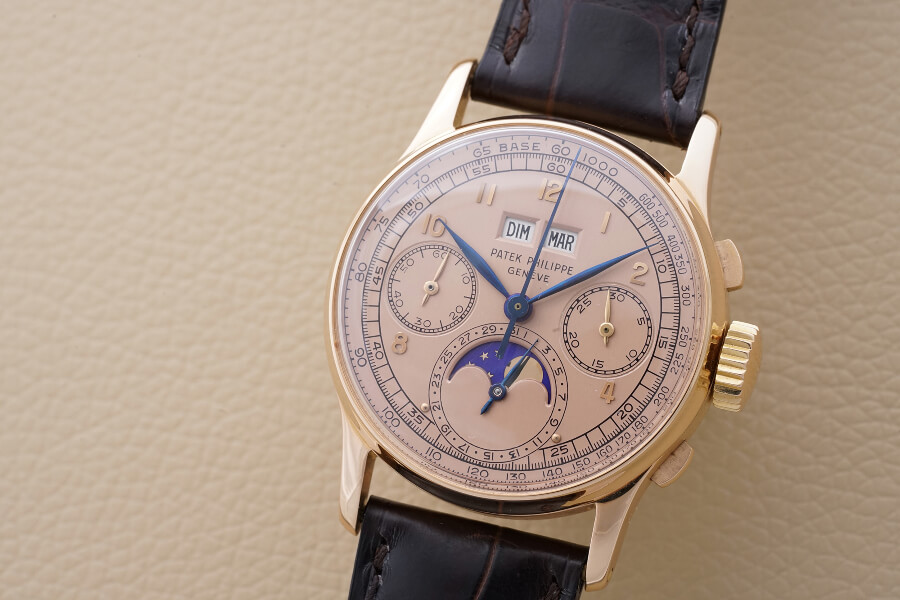Patek Philippe perpetual calendar chronograph Reference 1518 in pink gold with pink dial