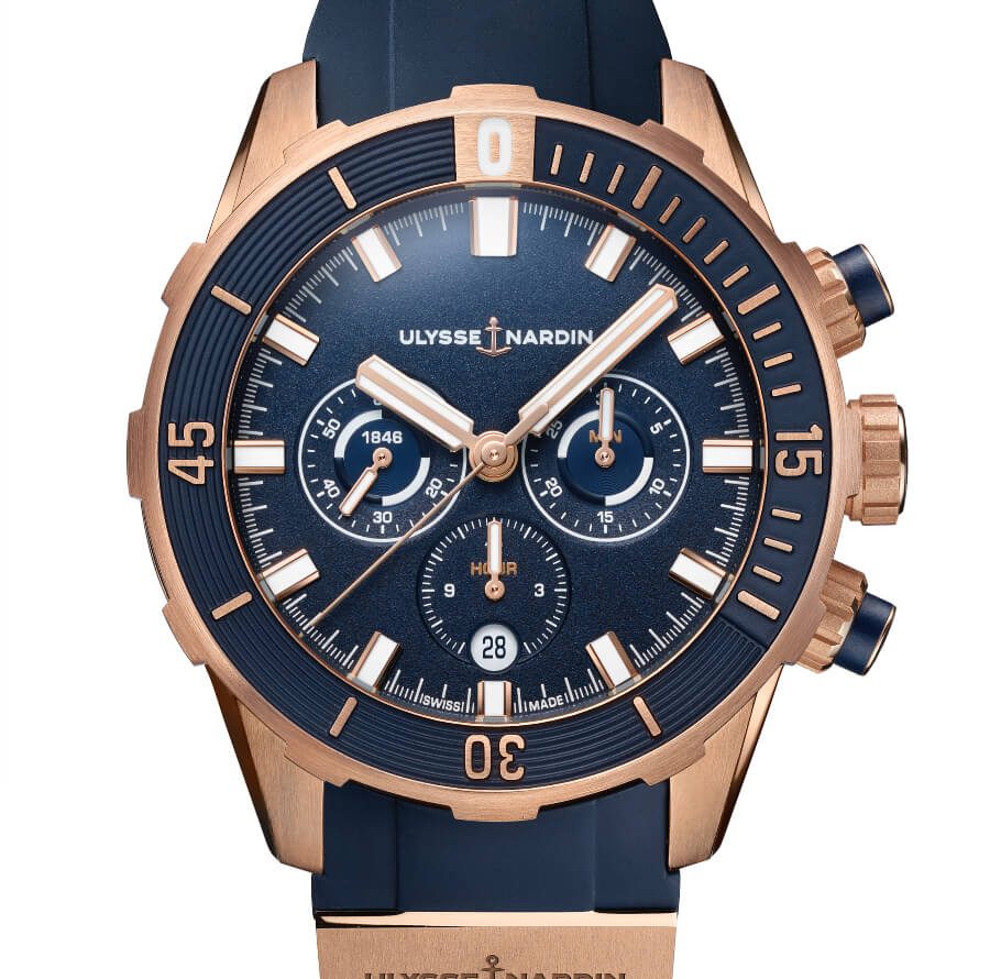 Ulysse Nardin Diver Chronograph 44 mm, Blue & Rose Gold