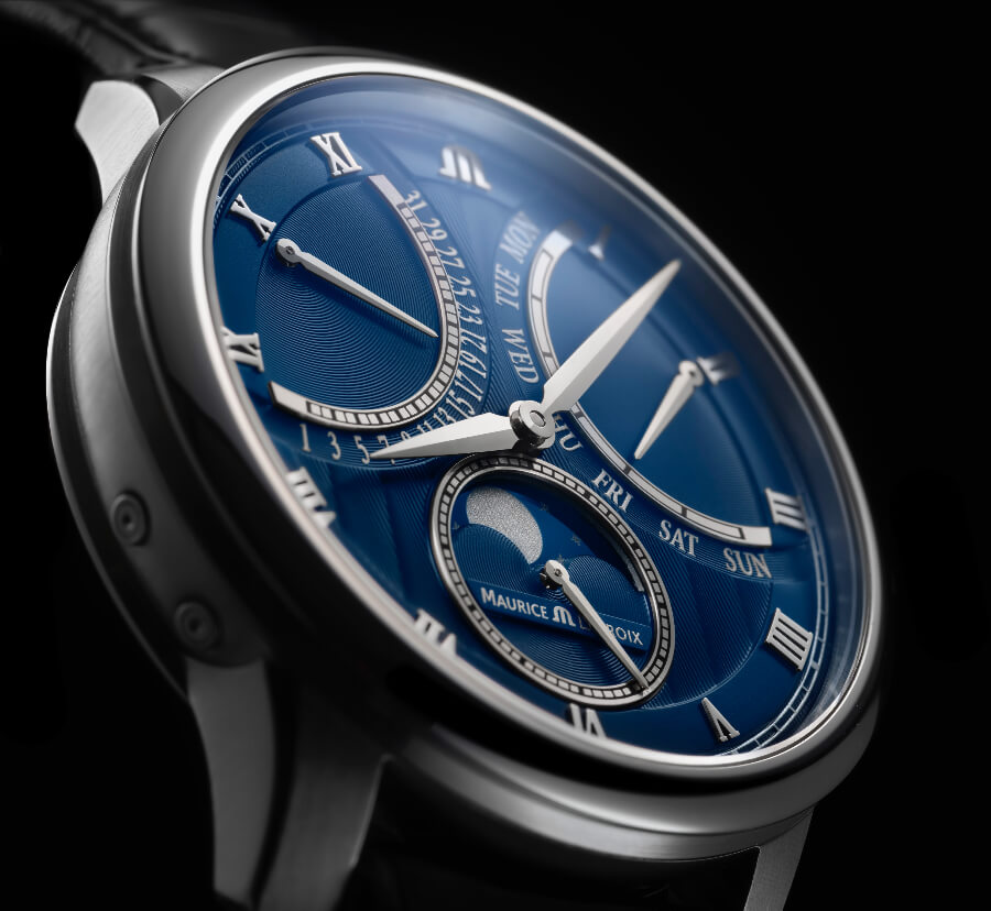 Maurice Lacroix Masterpiece Moonphase Retrograde Blue Dial