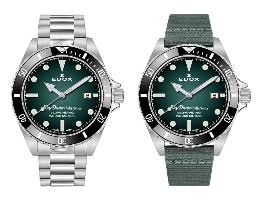 Edox SkyDiver Military Limited Edition With Green Dial