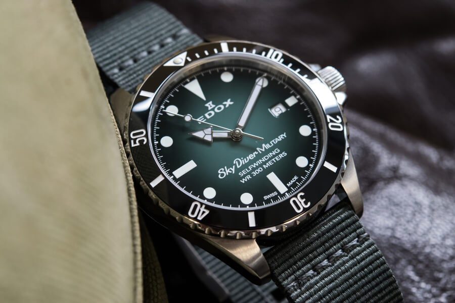 The New Edox SkyDiver Military Limited Edition With Green Dial