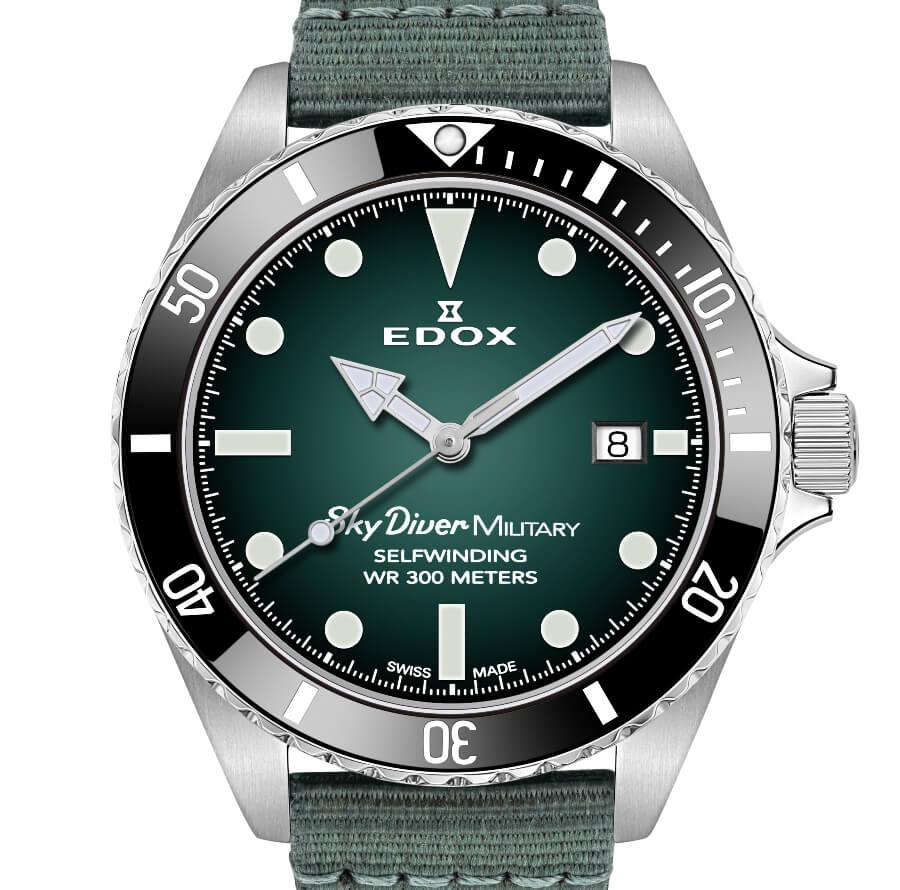 Edox SkyDiver Military Green Dial