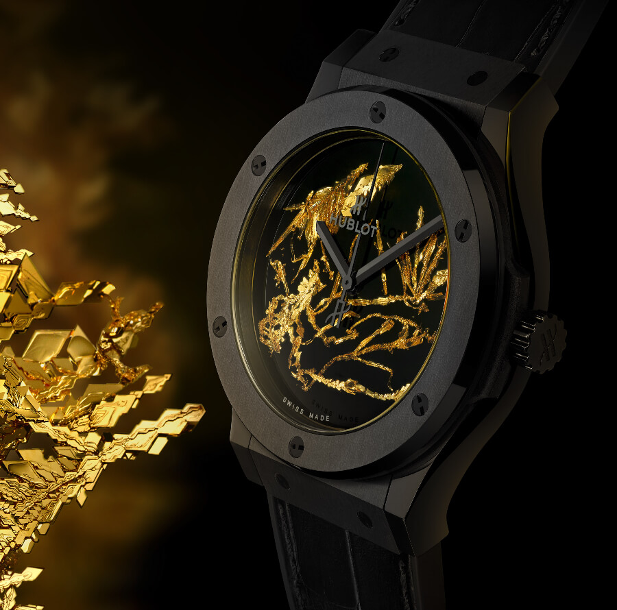 Men Watch Hublot Classic Fusion Gold Crystal Hands On