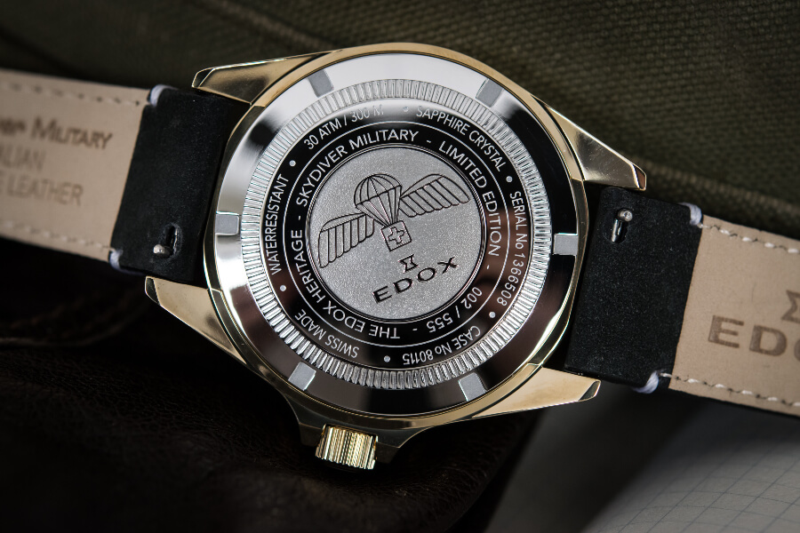 Edox SkyDiver Military Bronze Limited Edition Case Back