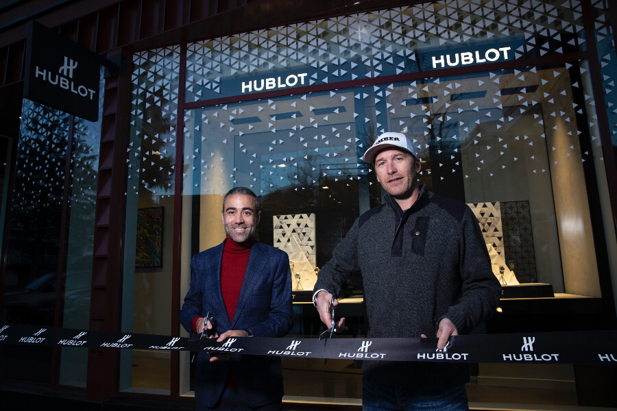 Jean Francois Sberro And Bode Miller At Hublot Aspen Boutique Opening