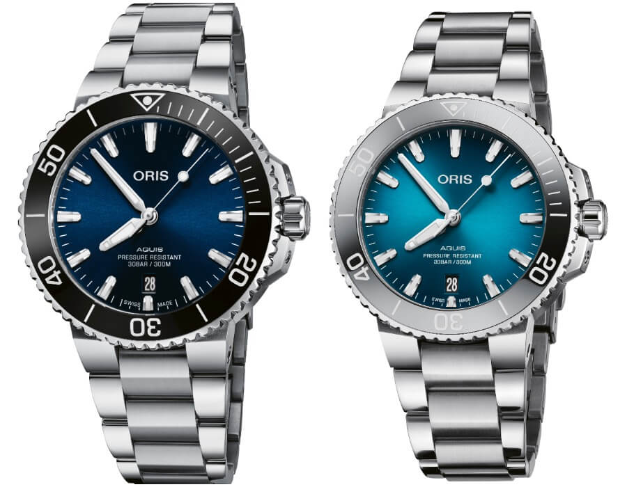 The New Oris Aquis Date 41.5 mm and 39.5 mm with a Oceanic Blue Gradient Dial
