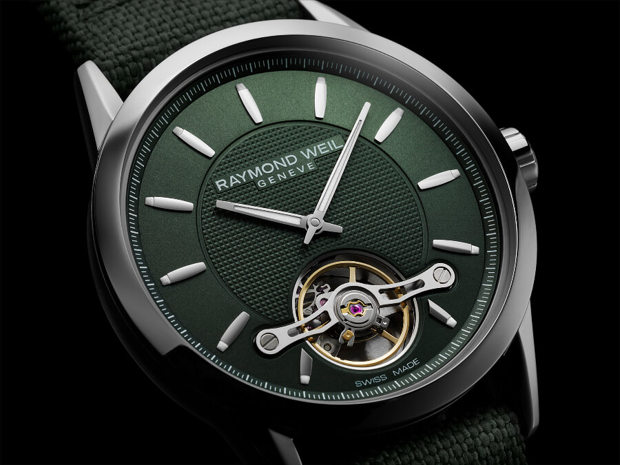 Swiss watch with green dial