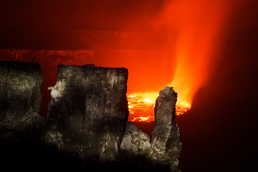 Lava Inside A Volcano