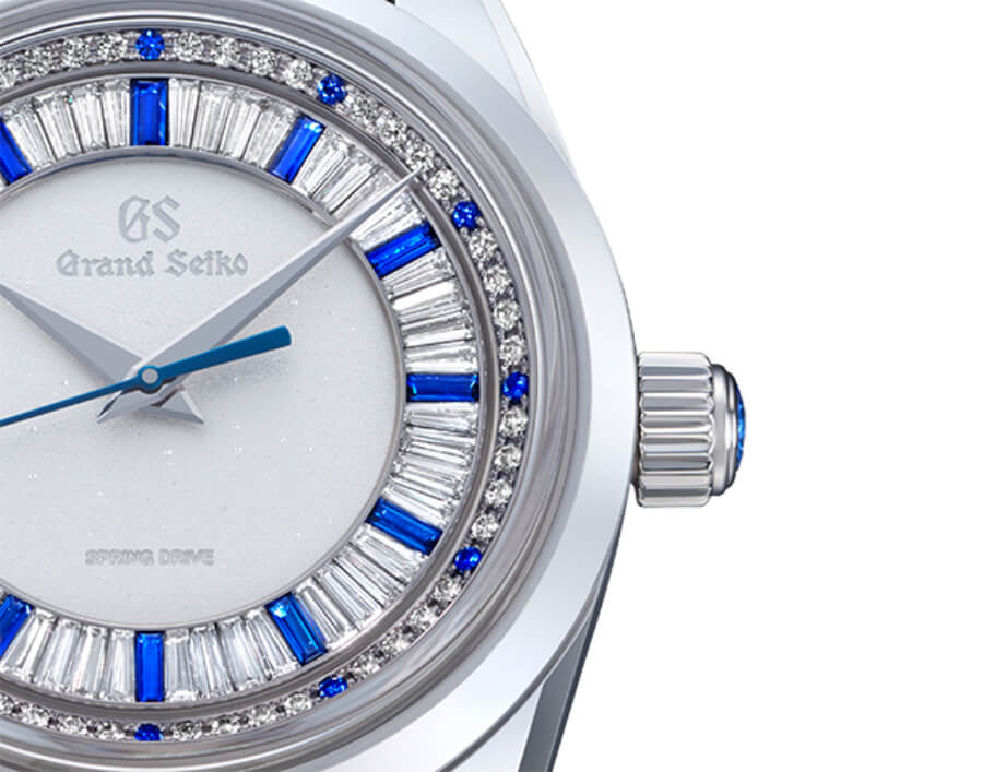 Grand Seiko 96 diamonds and 25 blue sapphires capture the tones of a winter morning of the area near the studio