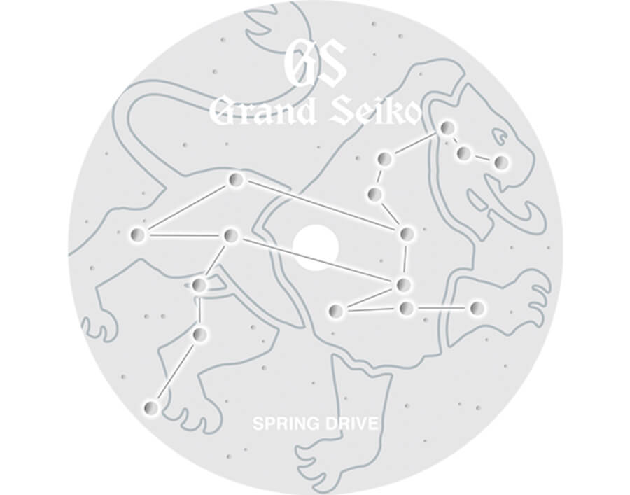 Grand Seiko The constellation of Leo is subtly marked into the diamond dust textured dial