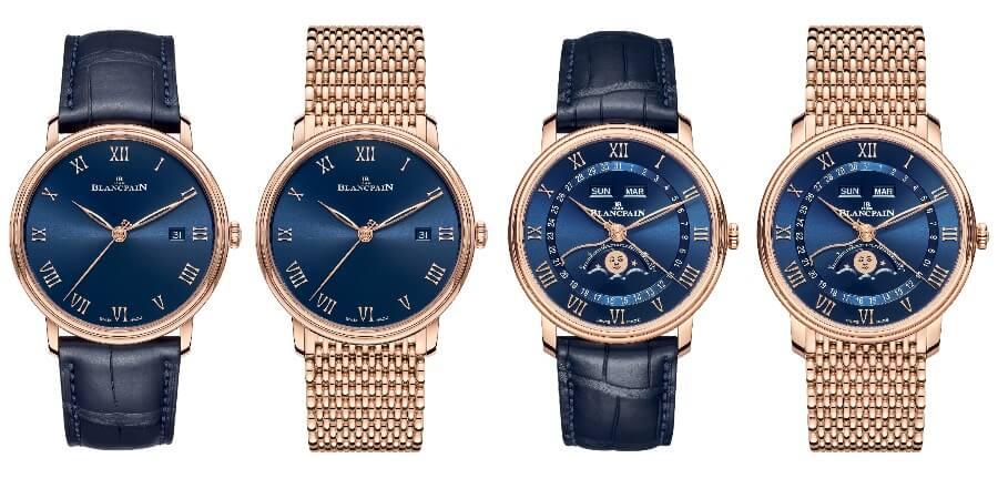 Blancpain Villeret Quantième Complet and Villeret Ultraplate Blue Dials Full Box Watches