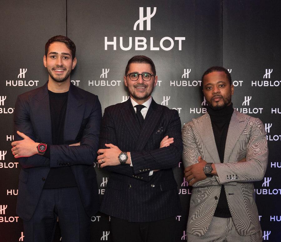 Chris Froggatt, Hublot Brand Director UK Omar Choudhary and Patrice Evra