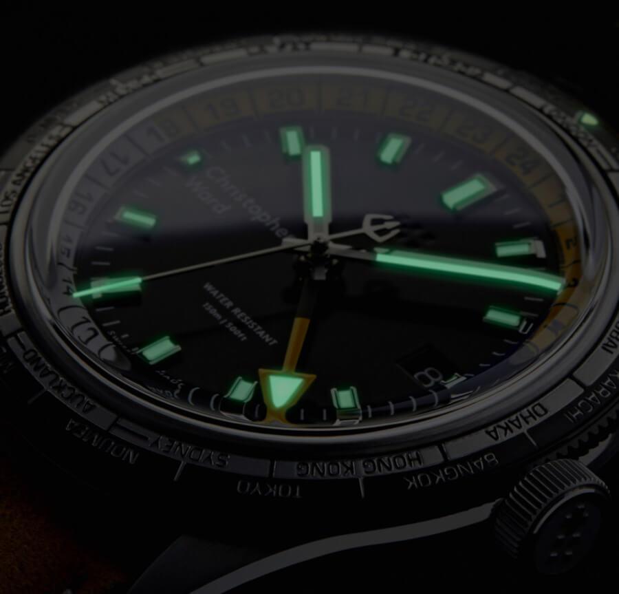 Christopher Ward C65 GMT Worldtimer Superluminova Watch