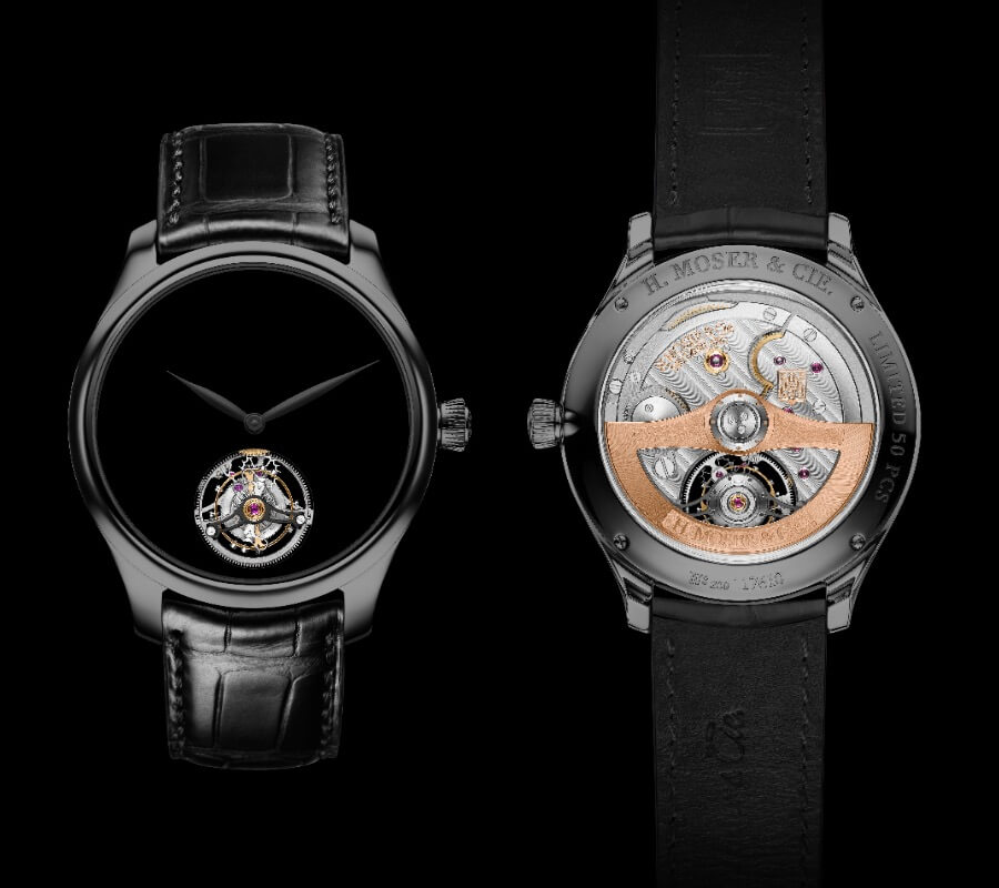 H. Moser & Cie. Endeavour Tourbillon Vantablack Black Hands Watch Movement