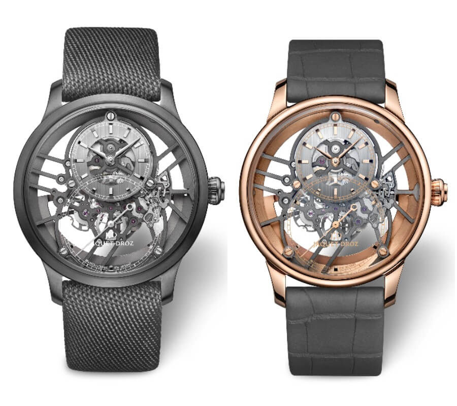 Jaquet Droz Grande Seconde Skelet-One Plasma Ceramic and Grande Seconde Skelet-One Red Gold