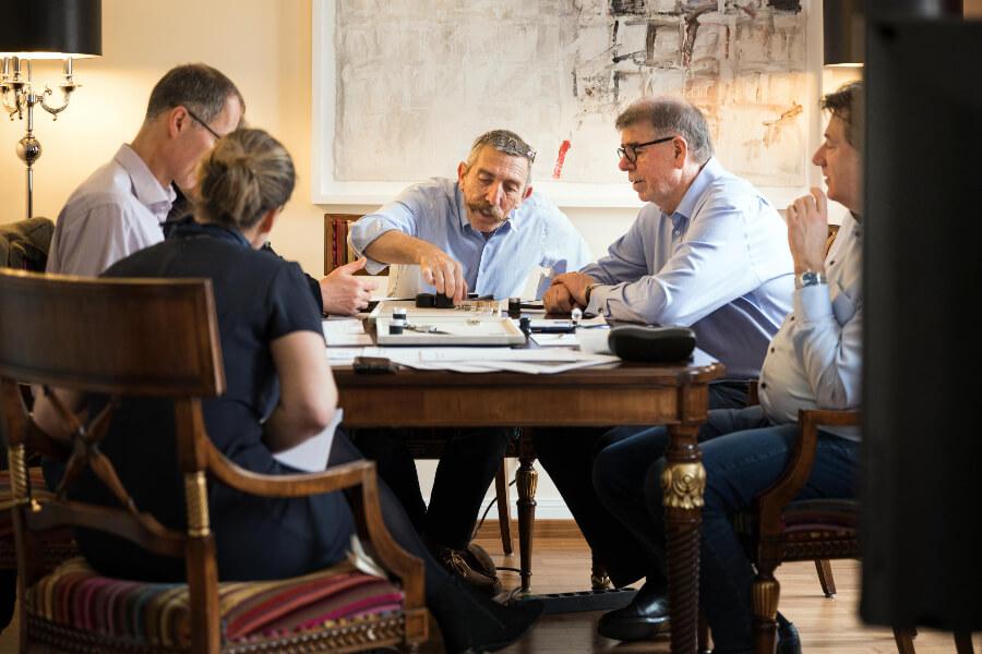 The jury: Anthony de Haas, Gisbert Brunner, Peter Braun, Peter Plassmeyer and Lange PR Director Arnd Einhorn