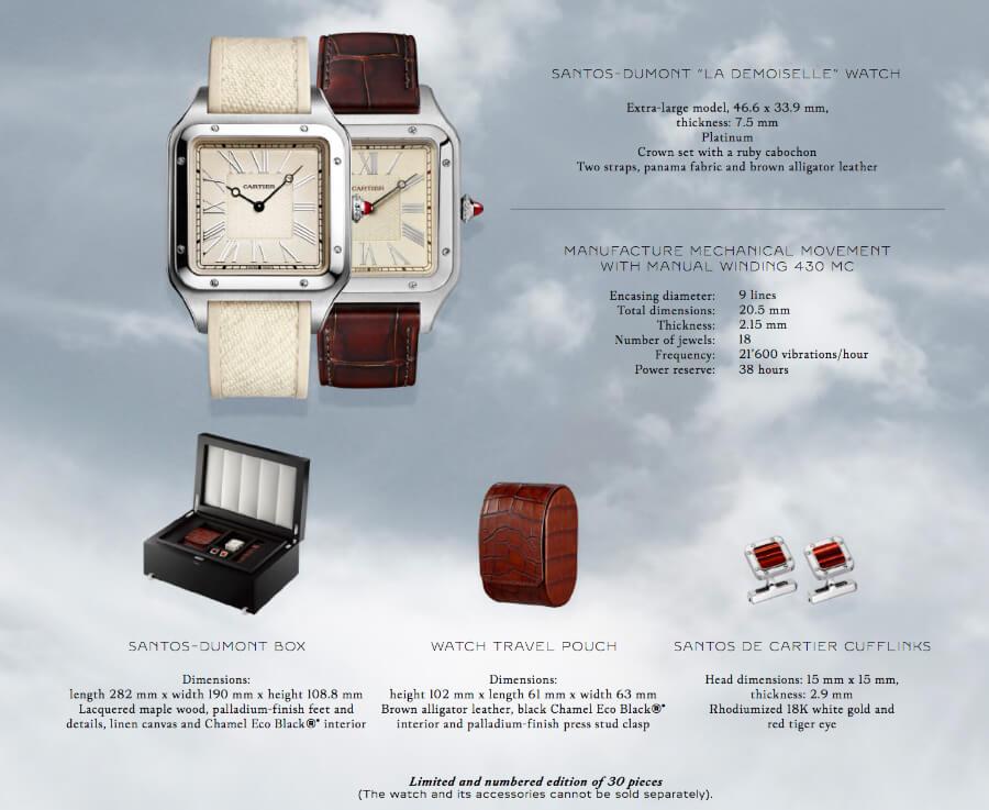 """Cartier Santos-Dumont """"La Demoiselle"""" watch Technical specifications"""