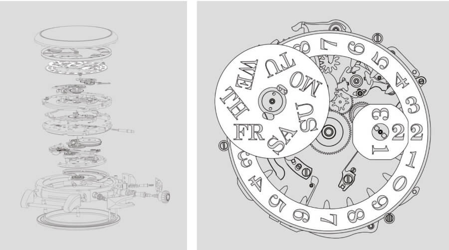 On the left an explosion illustration of calibre L155.1 DATOMATIC, on the right a technical illustration of the day-of-week and date mechanism