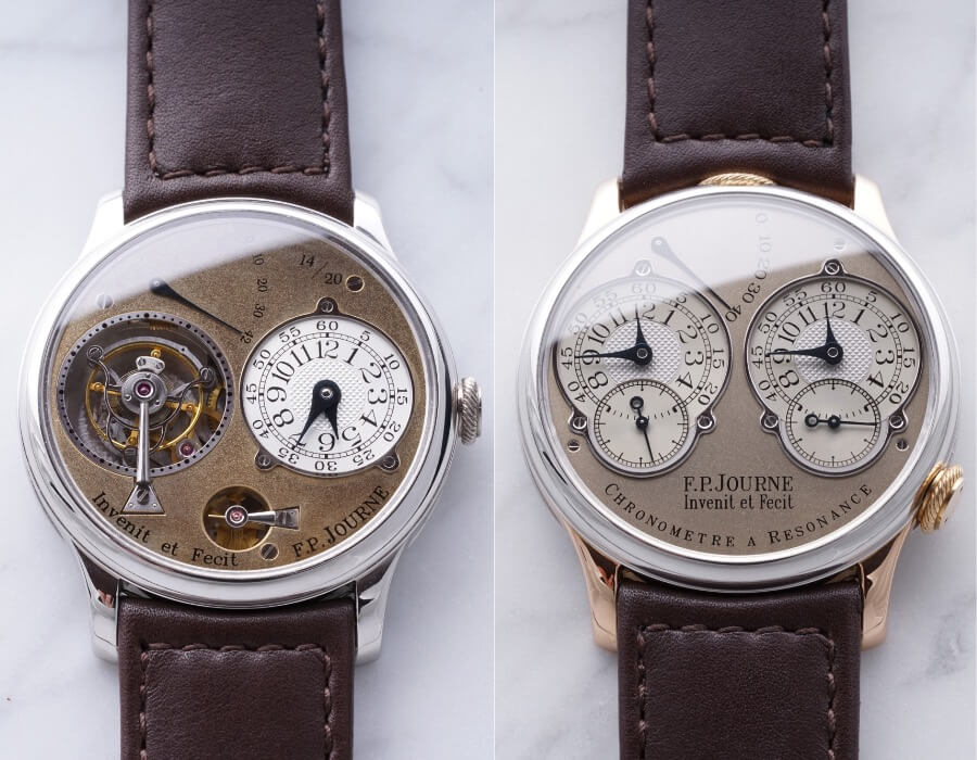 """Two Extremely Rare F.P. Journe Models Tourbillon Souverain and Resonance both from his Original """"Souscription"""" Series"""