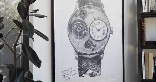 A Collected Man Will Auction A Unique Pencil Drawing Of F.P. Journe's First Wristwatch By Julie Kraulis & Signed By The Watchmaker