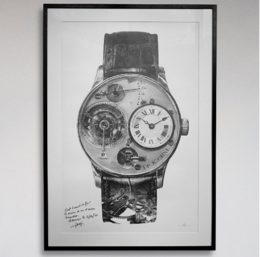 A Unique Pencil Drawing Of F.P. Journe's First Wristwatch By Julie Kraulis & Signed By The Watchmaker for A Collected Man