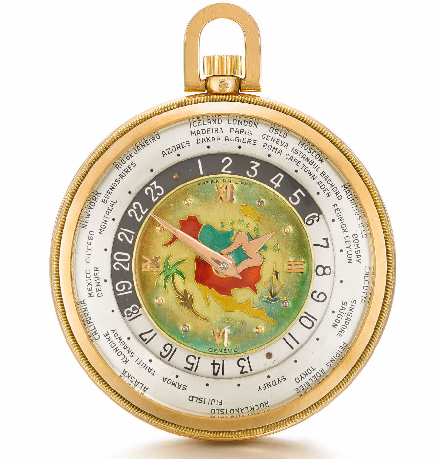 "The ""Patek Philippe Heures Universelles"", An extremely rare pink gold open-faced keyless lever world time watch with cloisonné enamel map of North America, 1948, ref. 605 HU"