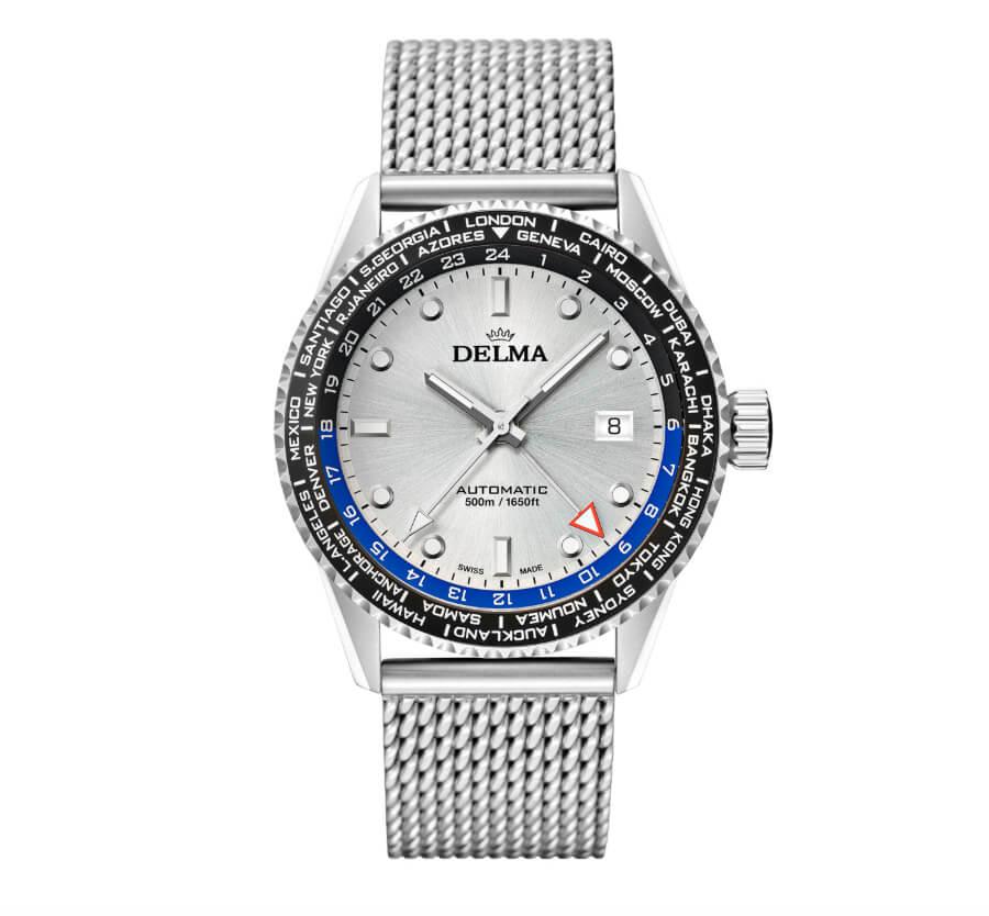 Delma Cayman Worldtimer Automatic Silver Dial