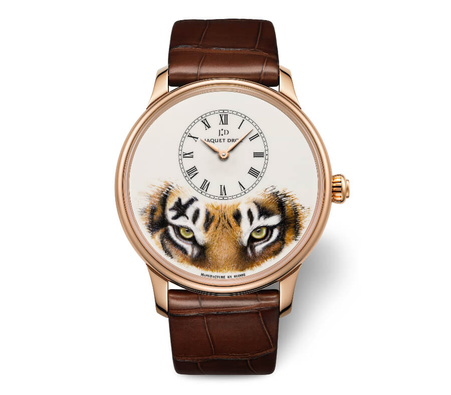 "The New Jaquet Droz Petite Heure Minute ""Tiger"" Red Gold"
