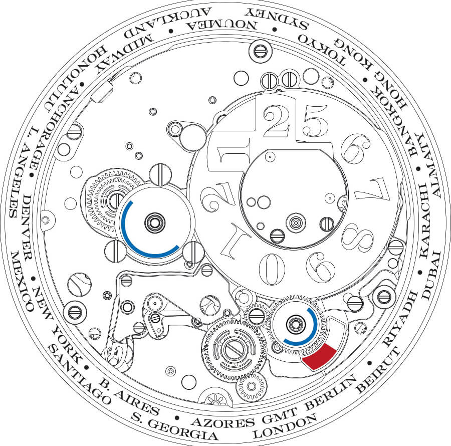 Technical drawing of the front view of the manufacture calibre L141.1 which drives the LANGE 1 TIME ZONE