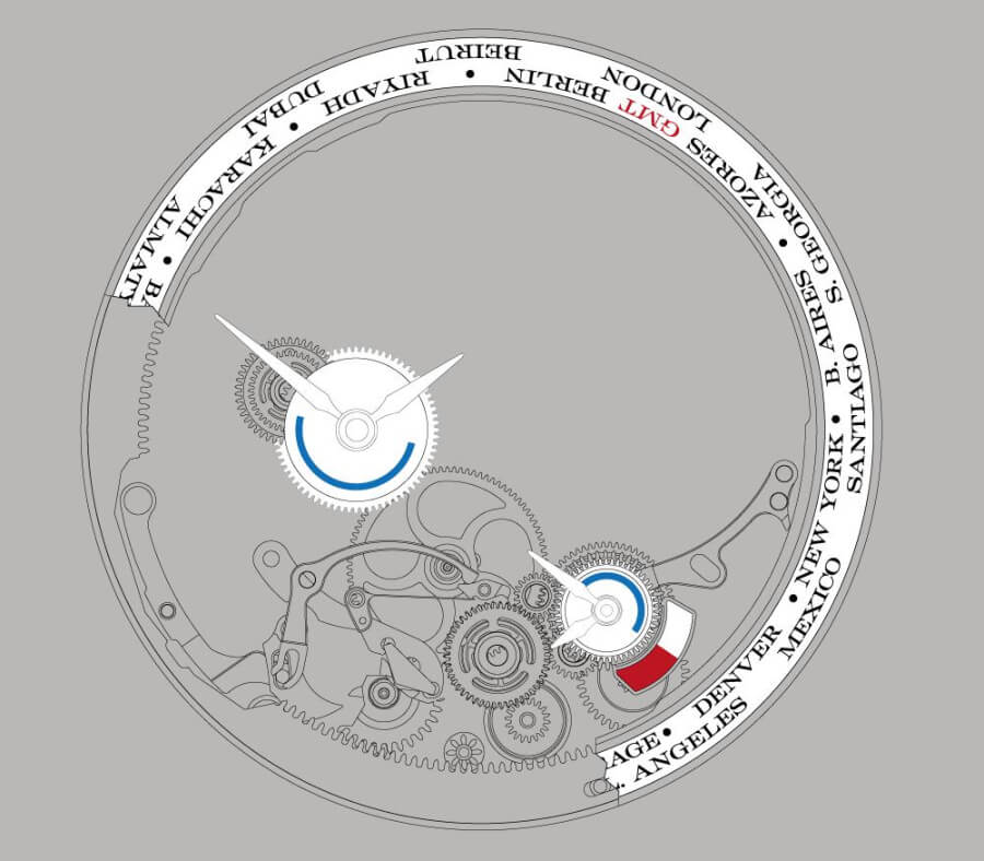Technical drawing of the time-zone mechanism of the manufacture calibre L141.1 which drives the LANGE 1 TIME ZONE