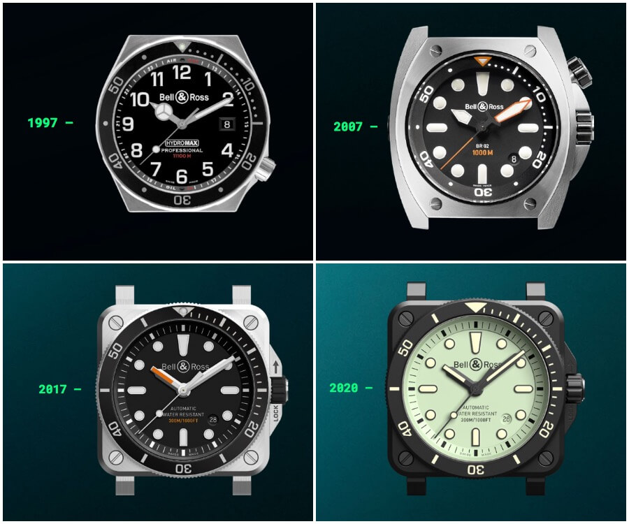 Bell & Ross Hydromax, Bell & Ross BR02, Bell & Ross BR03-92 Diver and Bell & Ross BR03-92 Diver Full Lum