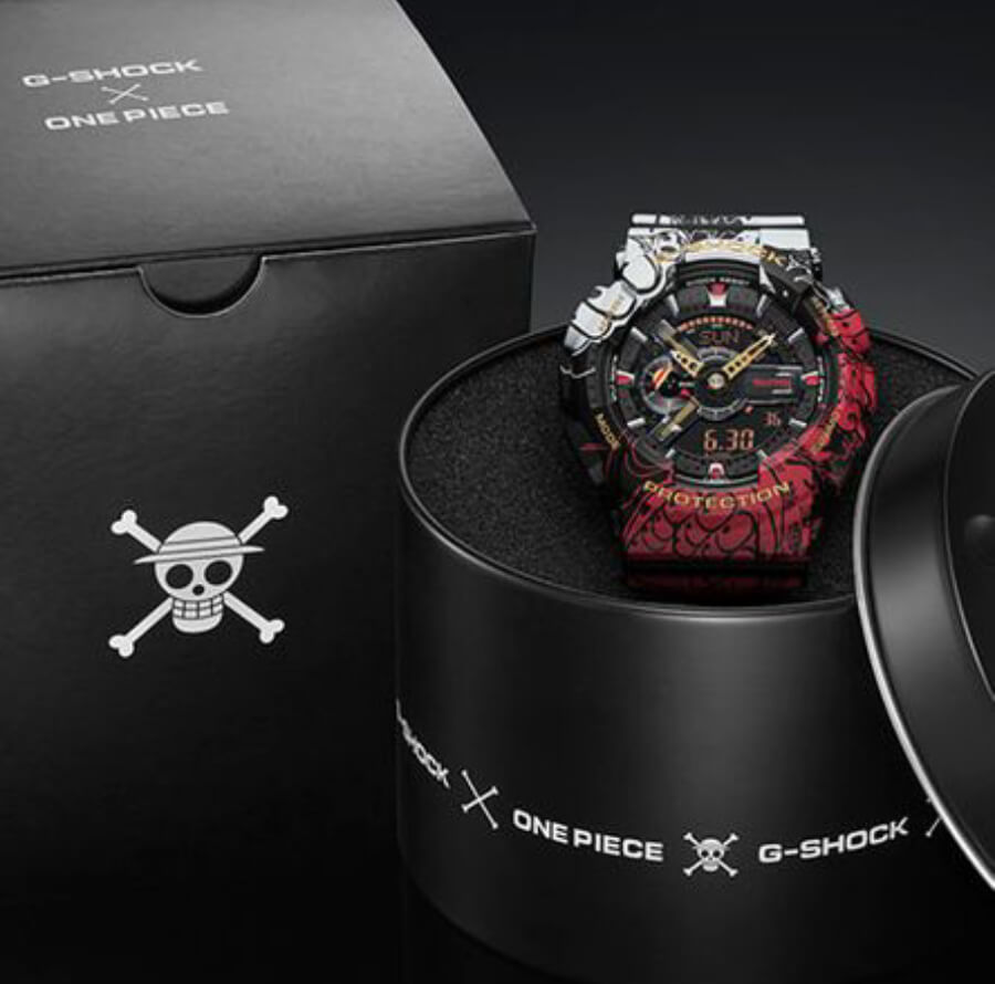 Casio G-Shock x One Piece Collaboration Timepiece GA110JOP-1A4 Full Box For Sale