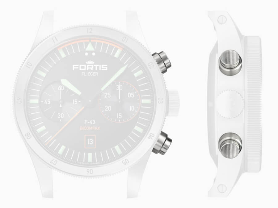 Fortis Flieger F-43 Bicompax Chronograph Pushers